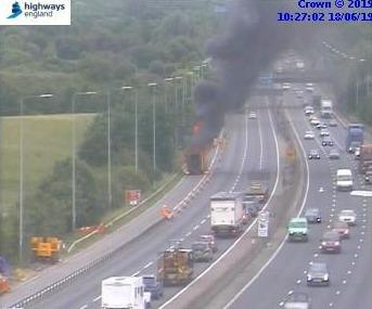 A lorry is on fire on the M5