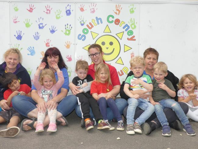 From left to right - Sara Dibley (Playgroup Manager), Jacob Thompson, Carolyn Dee (Play Assistant), Gracie Hanson, Oliver Dzendrowski, Nici Dzendrowska (Play Assistant), Imogen Gaulton, Hudson Perring, Sara Herbert (Play Assistant), Freddie Edlington and