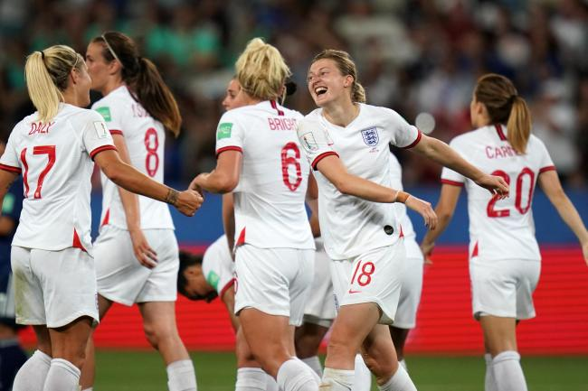 Ellen White celebrates scoring England's second goal