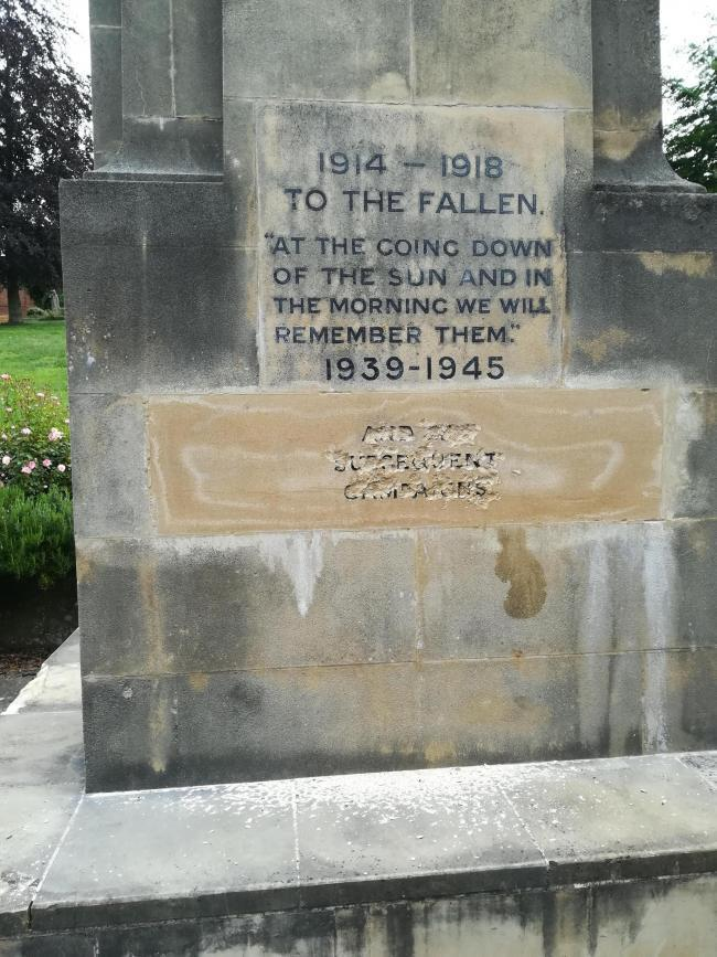 Stroud's war memorial was vandalised in June