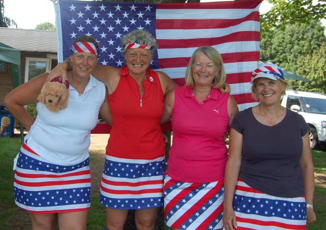 The Stars and Stripes Texas Scramble winners (from left): Julie Clough, Emma Brereton & Ali Kelly, with Cirencester Golf Club lady captain Fiona Fyfe, second right