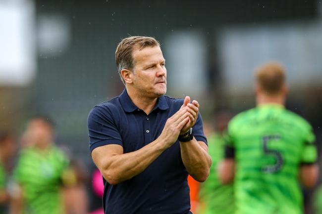 Forest Green Rovers Manager Mark Cooper celebrates at full time during the EFL Sky Bet League 2 match between Forest Green Rovers and Oldham Athletic at the New Lawn, Forest Green, United Kingdom on 3 August 2019.