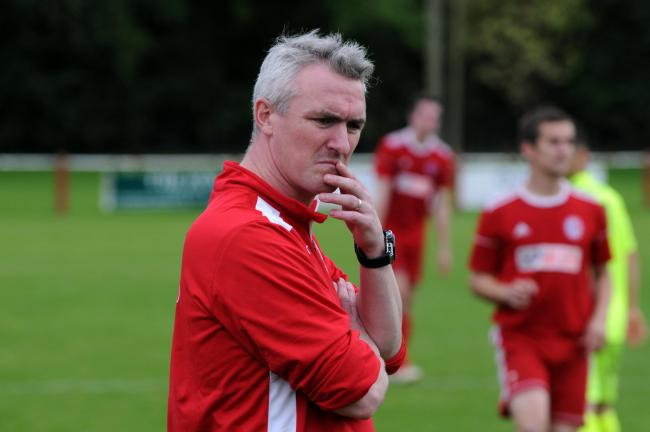 Fairford FC (red) v Binfield (yellow) Pic shows Fairford boss Jody Bevan