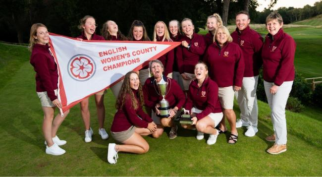 The winning Gloucestershire Women's golf team who are national champions again. Cirencester's Jess Brown is fourth from the right. Picture: Leaderboard Photography