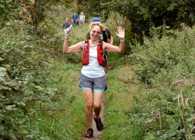 Debbie Wilson running last year's Five Valleys Walk