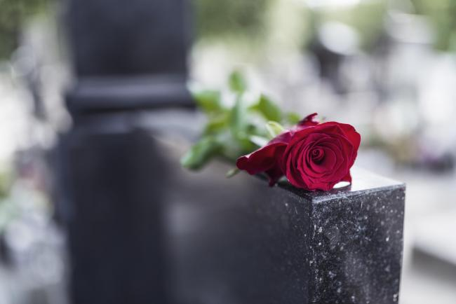 Rose on tombstone. Red rose on grave. Love - loss. Flower on memorial stone close up. Tragedy and sorrow for the loss of a loved one. Memory. Gravestone with withered rose.