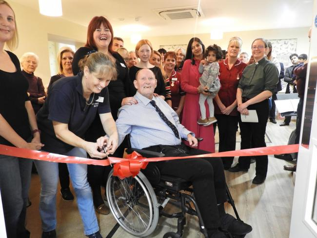 Former mayor Trevor Hing MBE at the opening of Hyperion House in Fairford