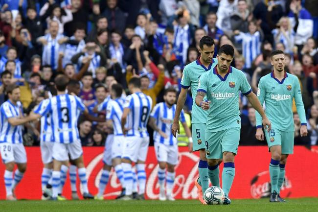 Real Sociedad celebrate against Barcelona
