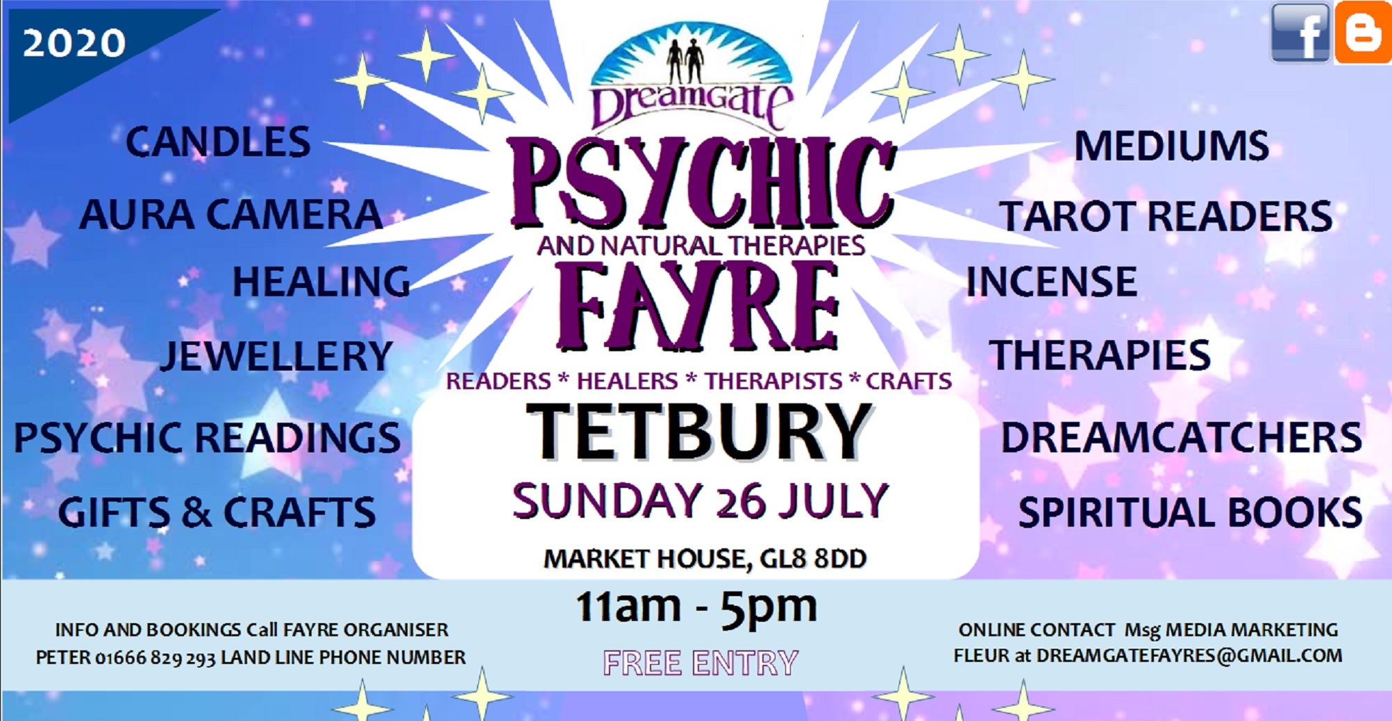 DreamGate Psychic Fayre Tetbury Sunday 26 July 20202