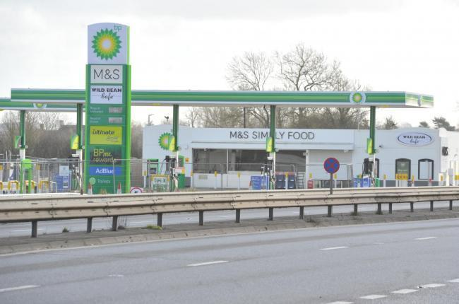 The incomplete BP garage on the A419