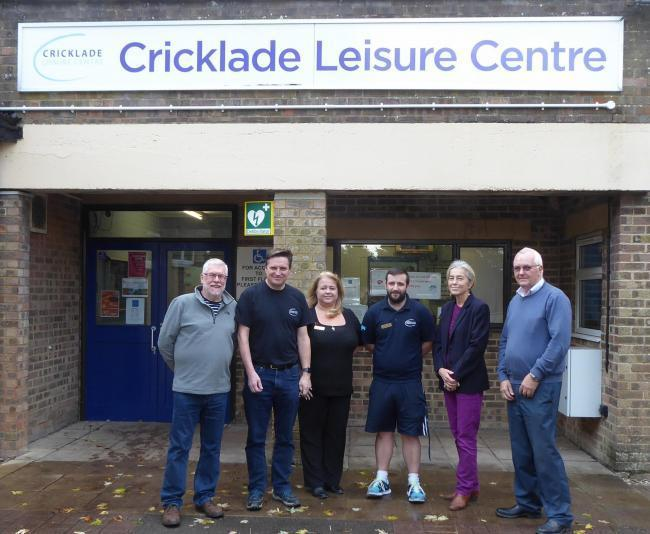 Cricklade Leisure Centre Mark Clarke, John Simmons, Kate Grainger, James Walters, Allison Bucknell and Bob Jones