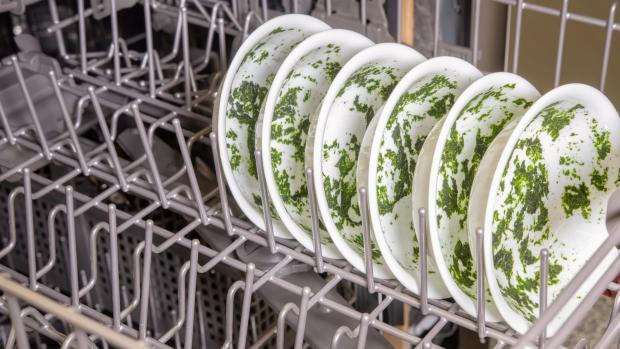 Wilts and Gloucestershire Standard: It's hard for your dishwasher to remove dried-on food—and spinach is the worst. If you can't run a full normal cycle right away, at least start a rinse cycle. Credit: Reviewed / Jonathan Chan