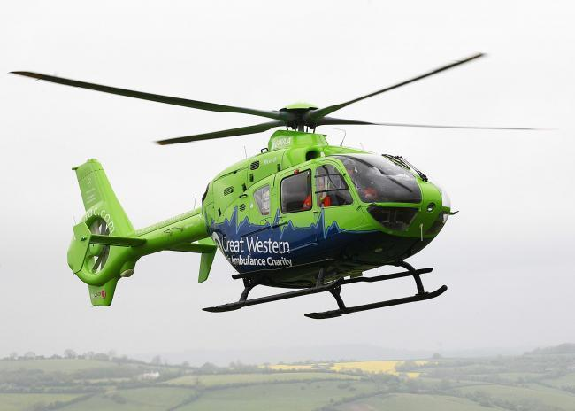 The cyclist was airlifted to hospital following the crash