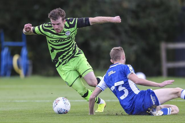 Nicky Cadden on the ball during the friendly between Forest Green Rovers and Bristol Rovers at Stanley Park, Chippenham, on Saturday