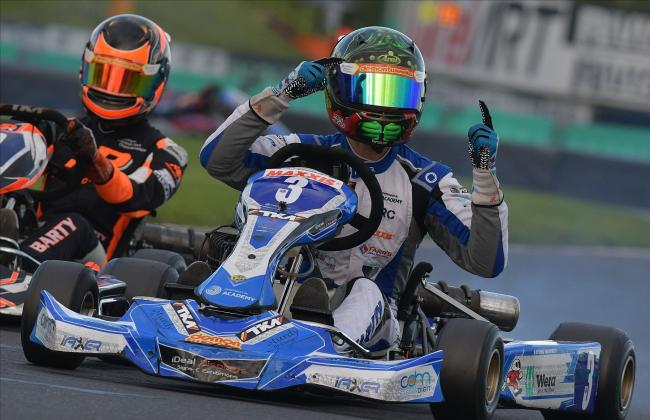 Louis Harvey secured his place in the karting history books by winning the 2020 Motorsport UK British Karting Championship in the Junior TKM Class. Picture by Chris Walker