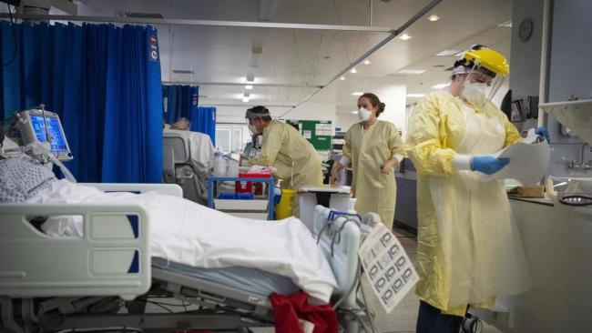 Behind-the-scenes footage of UK hospital amid Covid crisis. (PA)