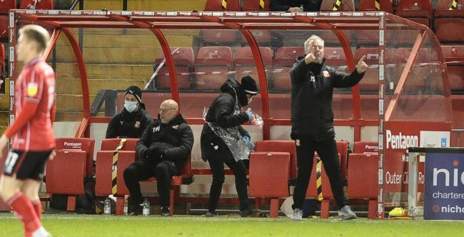Town manager John Sheridan barks out instructions from the sidelines during his team's 2-2 draw against Lincoln City             Photo: Dave Evans