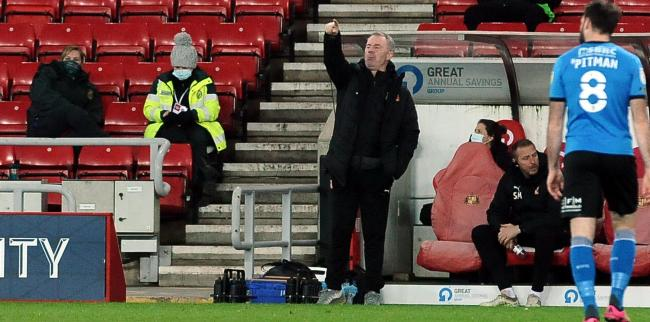 Town manager John Sheridan barks orders from the touchline at the Stadium of Light      Photo: Dave Evans