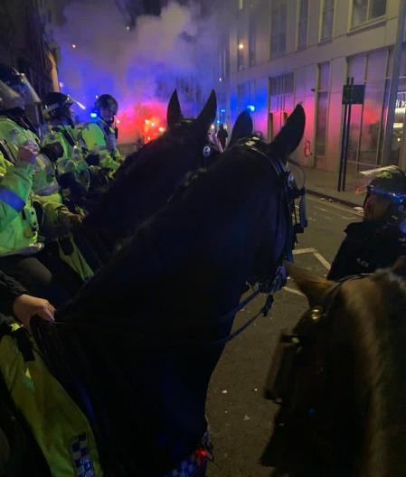 Six police horses and handlers remained on scene throughout the night