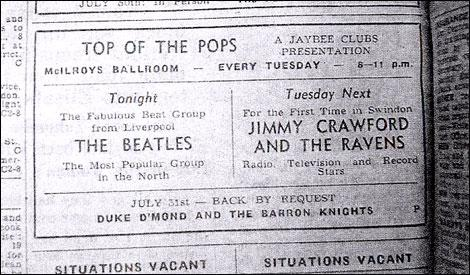 Wilts and Gloucestershire Standard: The Swindon billing for The Beatles