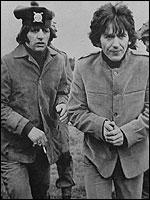Ringo and George looking chilly on Salisbury Plain in 1965 filming Help!