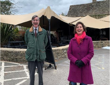 Jacob Rees-Mogg with Cotswold District Councillor Julia Judd in Siddington