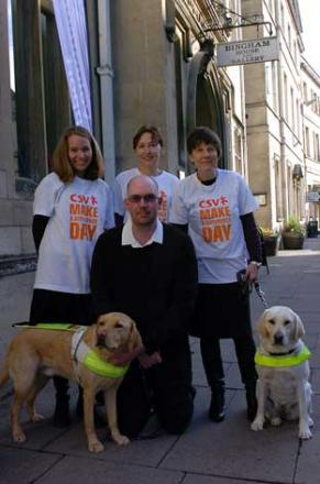 Organisers of the Cotswold Volunteers recruitment drive at Bingham House, Katy Dawson, Oliver Stevenson with guide dog Yorkie, Judy Mills and Clare Finnimore with guide dog Reba