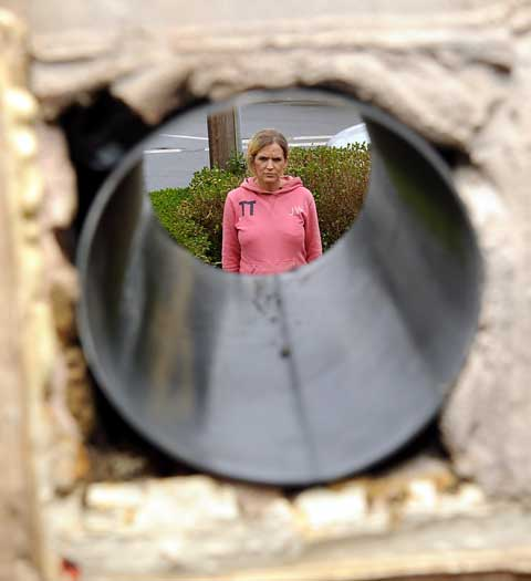 Louise Robertson in her garden, seen through the air vent hole in the wall from the living room