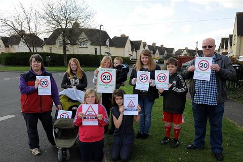 Wilts and Gloucestershire Standard: Cllr Roly Hughes  is joined by local residents in the new 20's Plenty speed restriction campaign in Brooke Road, Cirencester