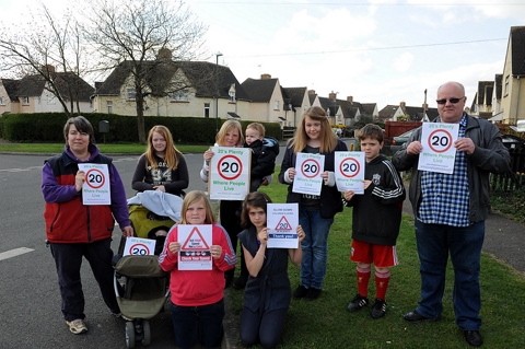 Cllr Roly Hughes  is joined by local residents in the new 20's Plenty speed restriction campaign in Brooke Road, Cirencester