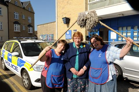 Retiring cleaner Mary Painter with colleagues Tracy Hacker and Liz Outram at Cirencester police station