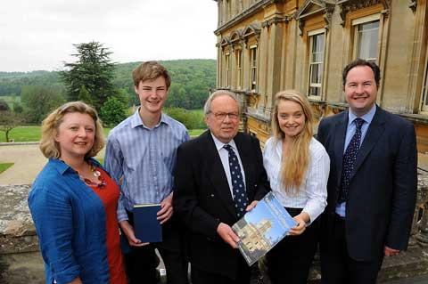 Peter Cockell, centre, revisits Rendcomb College where he was a student when the Queen came to the throne, and meets headmaster Roland Martin and his wife Kerri and students Lance Baynham and Charlotte Jones wgrp0874h12 To order this picture call 01285 64