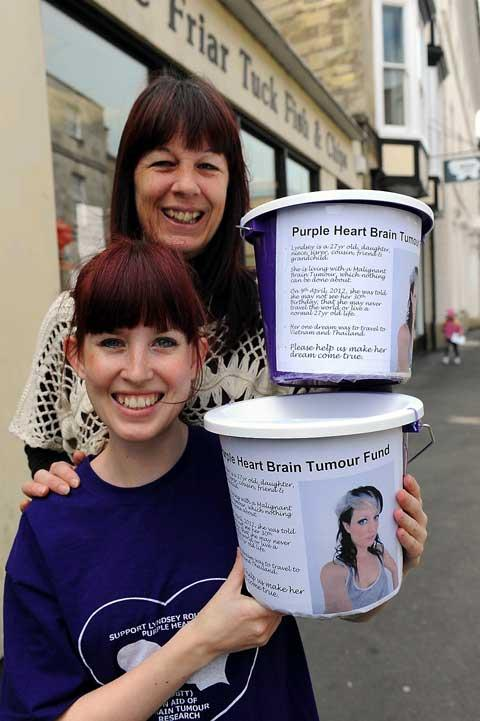 Liz Maw and Leigh Roughton collecting for the Purple Heart Brain Tumour Trust
