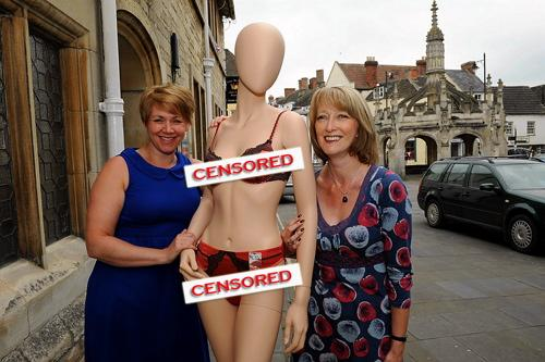 Dee Harris and Sue Lehrer with Belle the mannequin wearing a pair of her slightly bigger pants outside Beau Belle in Malmesbury