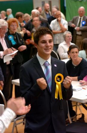 Cllr Joe Harris celebrating his win at last year's District Council elections