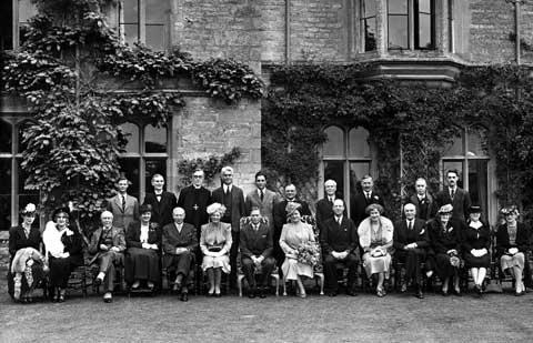A photograph of The Royal Party during the visit of King George VI and Queen Elizabeth to the Royal Agricultural College, 1946.  Lent by Royal Agricultural College.