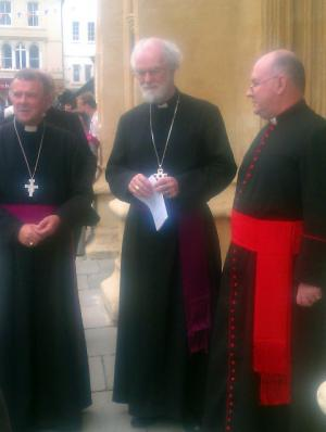 Dr Rowan Williams with Rt Revd Michael Perham and Father Leonard Doolan at Cirencester Parish Church