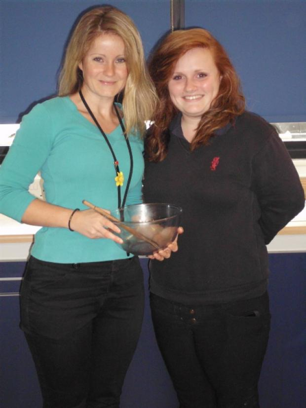 Jade Fair, catering teacher at Kingshill with competition winner Daisy Giles