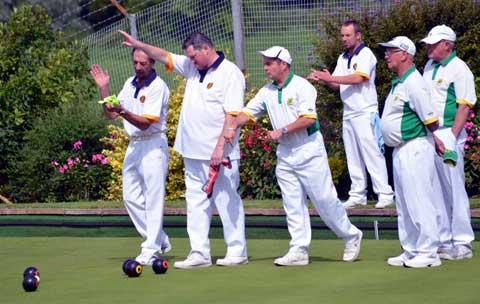 Gloucestershire County Bowls champions Tetbury in white and blue (left)