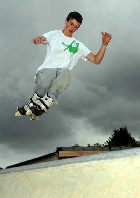 Ollie Leonard tries out the new skate park in Moreton