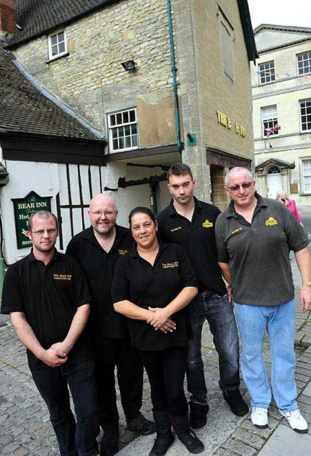 Staff at The Bear (L-R) Roland Hughes, Nick and Debi Mann, Simon Hobbs and Pete Mueller