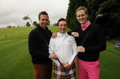 Tailor Tom Wharton, centre, is joined by former England cricket captain Michael Vaughan and TV presenter Dan Walker for a charity match at Cirencester golf club