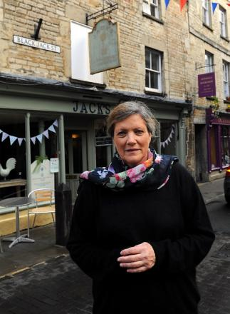 Anne Rainy-Brown outside Jack's Cafe in Black Jack Street, Cirencester