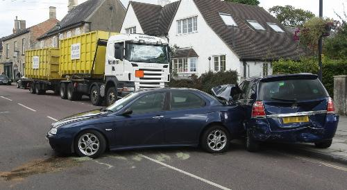 Lucky escape after lorry hits two cars