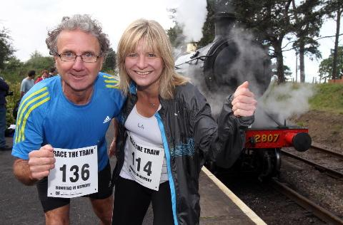Cara Taylor and Paul Vizor from Cirencester who took on Cotswold Care Hospice's Race the Train 14 mile cross country race