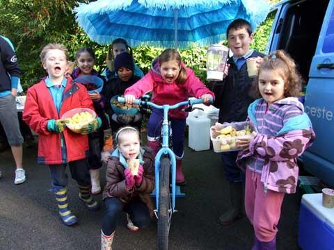Pupils from Powell's Primary School get a health kick with a smoothie-making bike at an Apple Day event at Cirencester Hospital