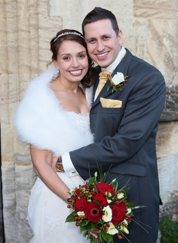 Katie Haines on her wedding day with husband Richard.