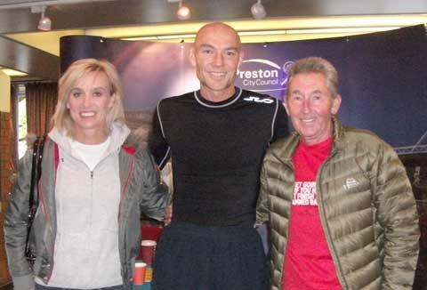 Steve Edwards, centre, with running legends Liz McGolgan and Ron Hill at the Preston Marathon