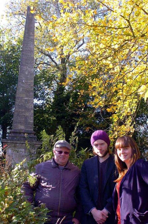 Roly Hughes, John Hughes and Hannah Sturman at the obelisk in Cirencester