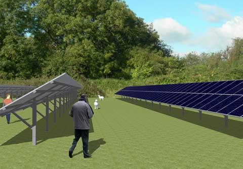 An artist's impression of the proposed solar development at Chelworth